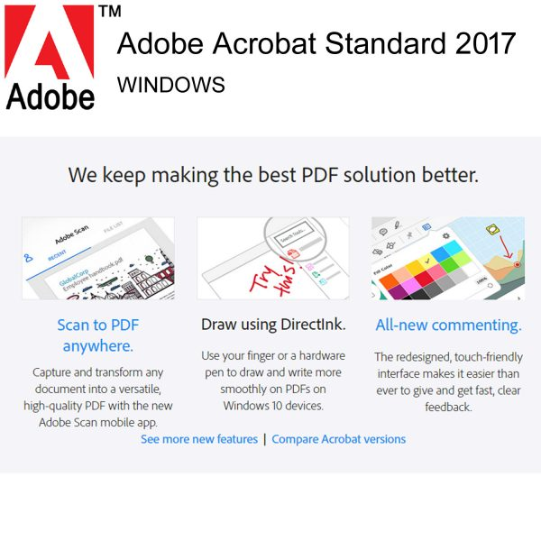 Adobe Acrobat Standard 2017 Full Version Lifetime Licence PC