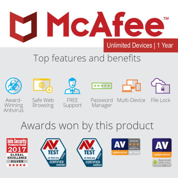 McAfee Antivirus Plus 2018 – 3 Users 1 Year